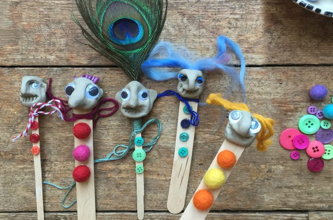 Craft Stick Puppet with Clay Heads