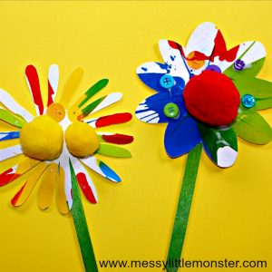 messylittlemonster_rainbow spin art flower craft