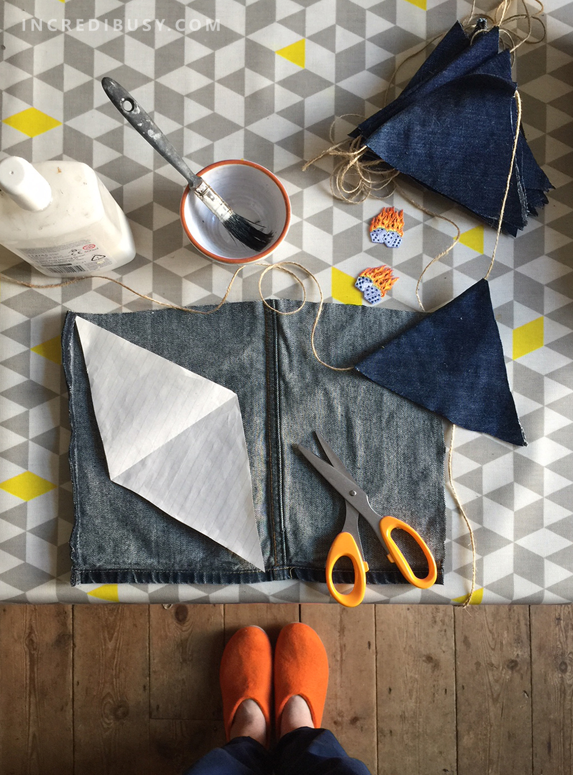 Denim-Bunting-DIY-glue