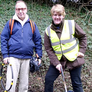 American author David Sedaris takes Clare Balding on a litter-picking walk in West Sussex.