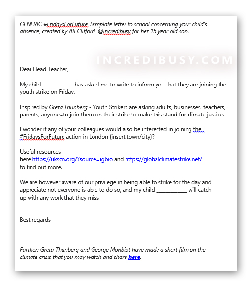 School strike template-letter-to-school