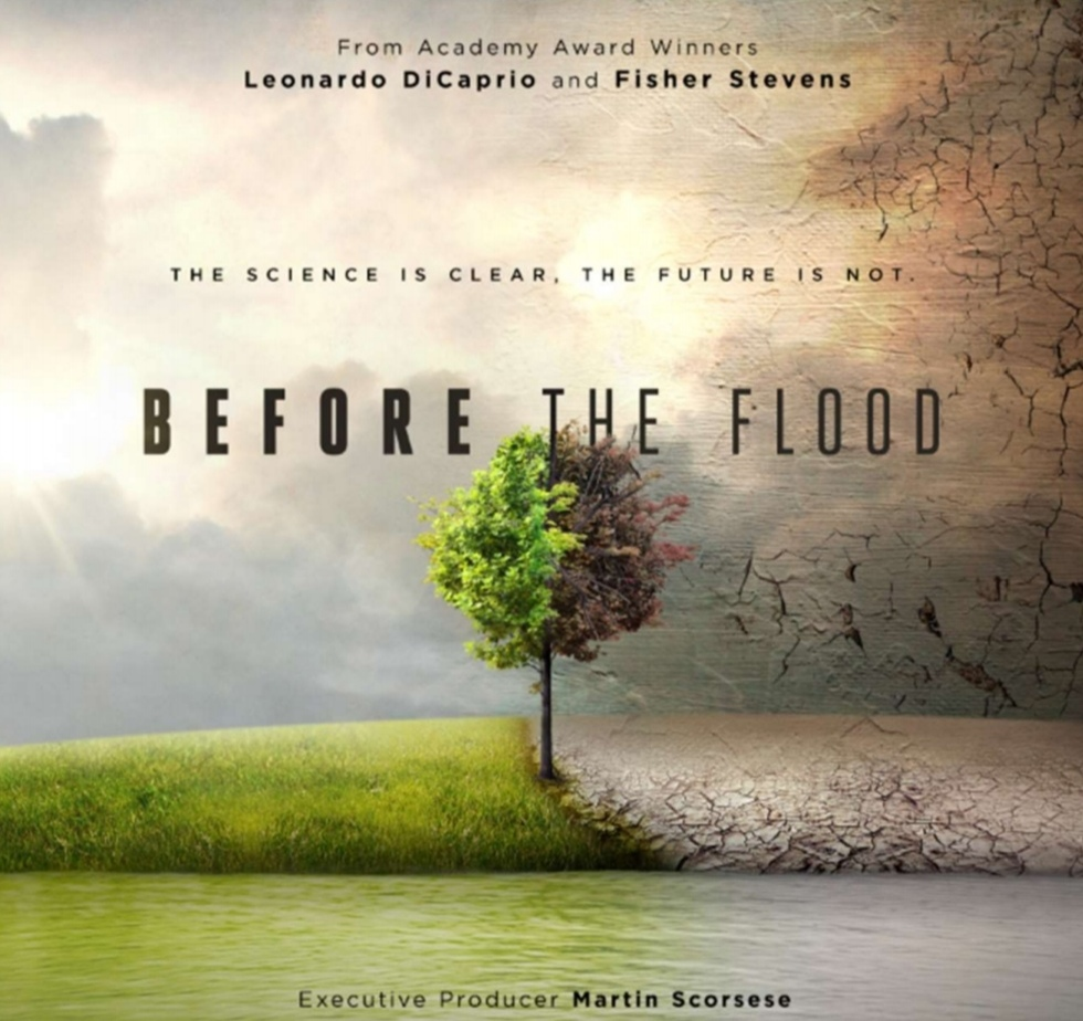 cover / title image of 'Before the Flood' - documentary starring Leonardo Di Caprio. Available on Amazon prime. Valuable viewing for any aspiring young activist.