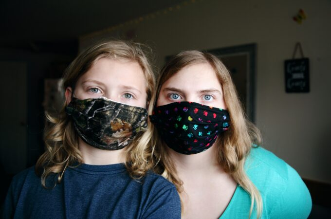 Mother and child fight fast fashion with homemade masks